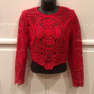 Windsor Red Long-sleeve Lace Crop Top SZ M